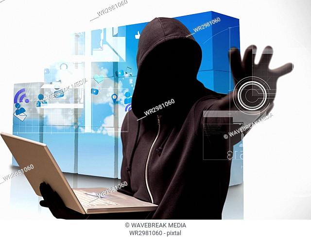 3d Hacker holding a laptop and tendering his arm in a data center