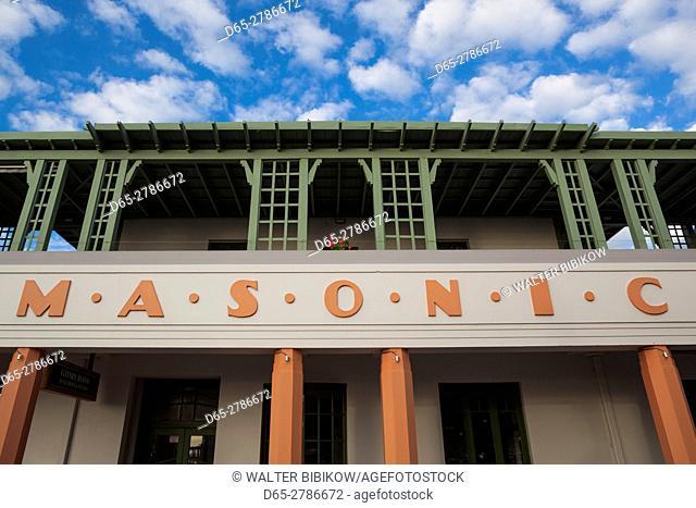 New Zealand, North Island, Hawkes Bay, Napier, art-deco architecture, Masonic Hotel, detail
