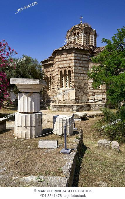 Athens Greece. The tiny old Church of the Holy Apostles at the Ancient Agora