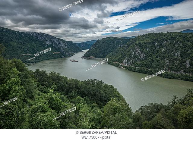 View of the Danube River and Romania from Golo Brdo, Bare Hill and National Park Derdap, Serbia