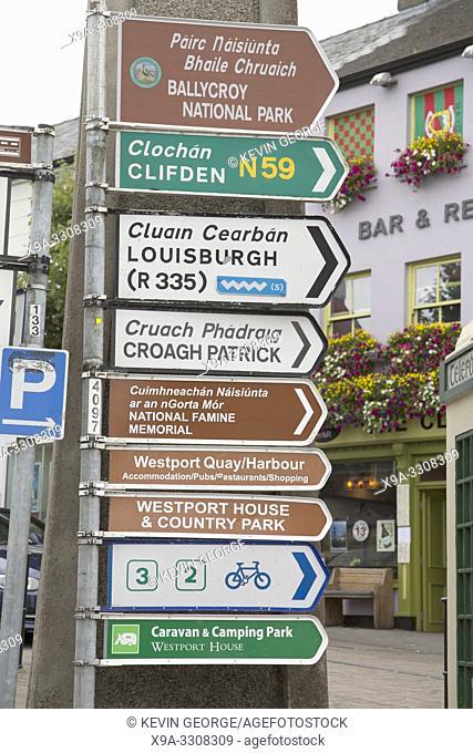 Traditional Street Direction Signs, Westport; Ireland