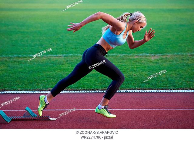 pixelated design of woman sprinter leaving starting blocks