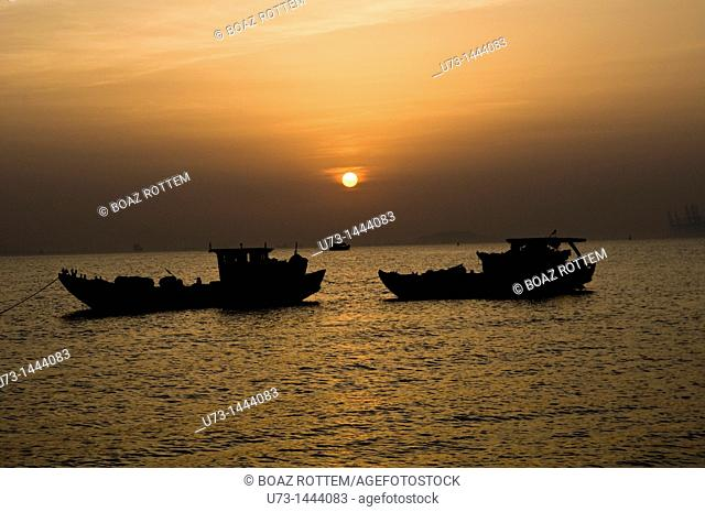 A romantic sunset as seen from Xiamen, China