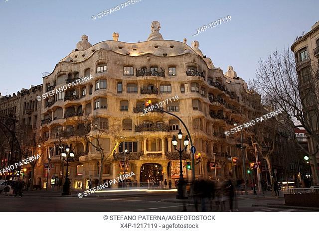 Casa Mila, built by Antoni Gaudi from 1906 to 1910. Barcelona, Spain