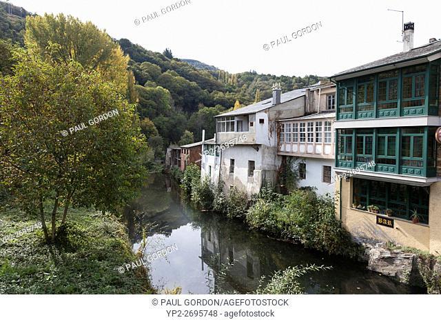 Samos, Spain: Idyllic row of homes along the Sarria River