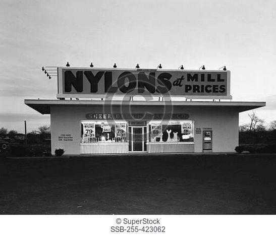 USA, New Jersey, Peramus, Nylon stockings store at night