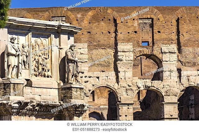 Ancient Constantine Arch Roman Colosseum Rome Italy Colosseum built in 72 AD by Emperor Vespacian. Constantine Arch build 315 Emperor Constantine