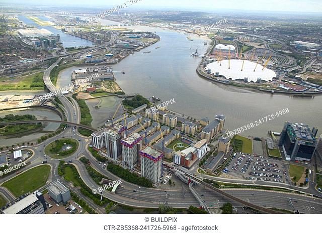 Aerial view of Electron, a residential property development by Barratt, with the Millennium Dome on the Greenwich Peninsula, London Docklands, Thames Gateway