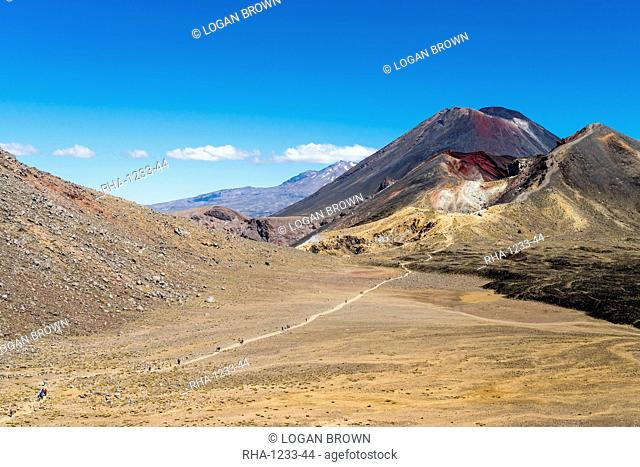 Hikers are dwarfed by the volcanic Mount Ngauruhoe on the Tongariro Crossing trail, Tongariro National Park, UNESCO World Heritage Site, North Island