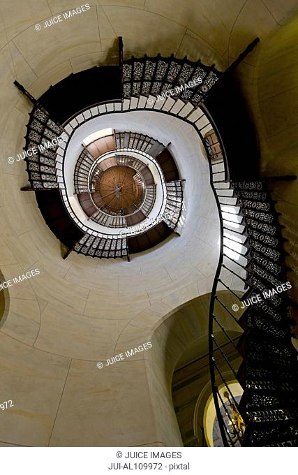 Circular staircase in the central tower of Granitz Hunting Lodge, Binz, Rugen island, Mecklenburg-Western Pommerania, Germany