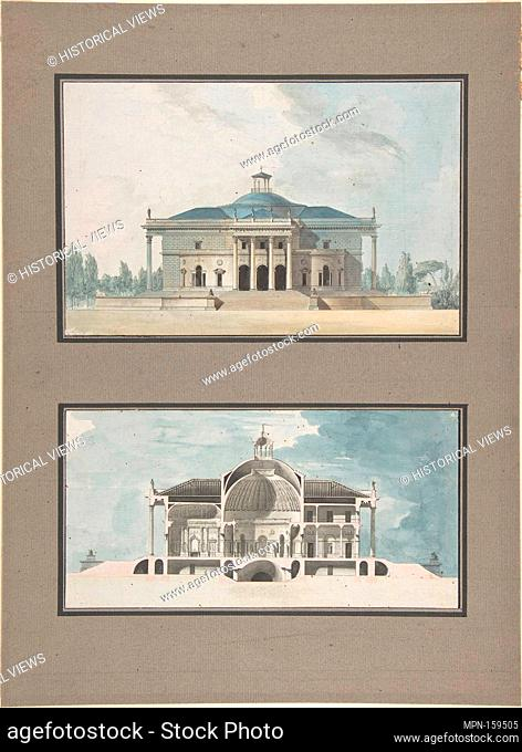 Project for a Maison de plaisance pour un grand seigneur, Elevation and Section. Artist: Jean Nicolas Sobre (French); Date: ca