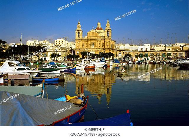 Fishing harbour cathedral Msida Malta