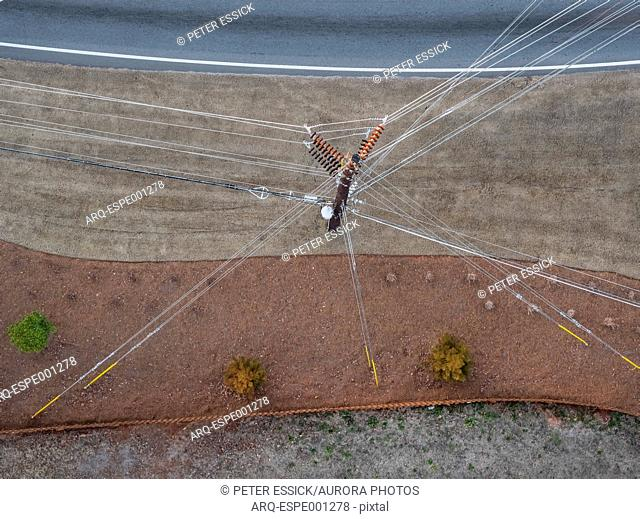 Directly above view of utility pole and power lines, Lilburn, Georgia, USA