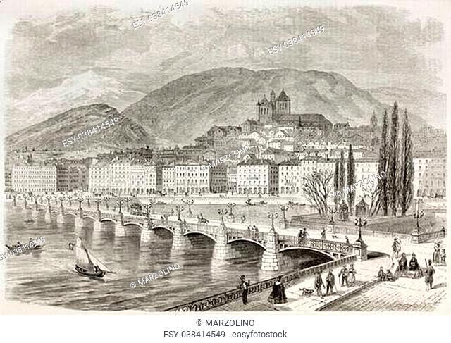 Mont-Blanc bridge old view, Geneva, Switzerland. Created by Rouargue, published on L'illustration, Journal Universel, Paris, 1863