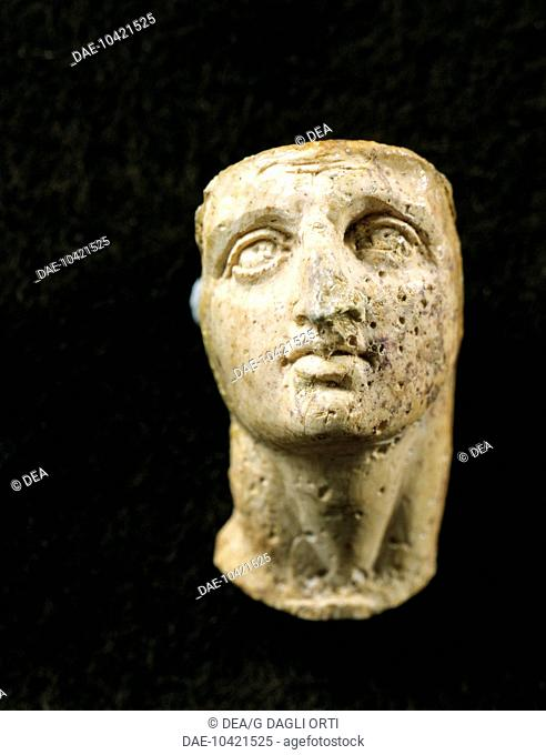 Head of Alexander the Great, Alexandrian statue in ivory from the Tomb of Philip II of Macedon at Vergina, Greece. Greek civilization,  Tessalonica