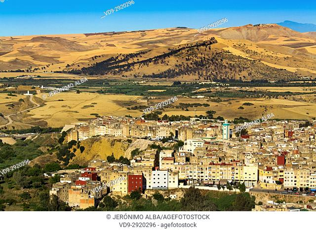 Landscape, panoramic view of Fez, Fes el Bali. Morocco, Maghreb North Africa