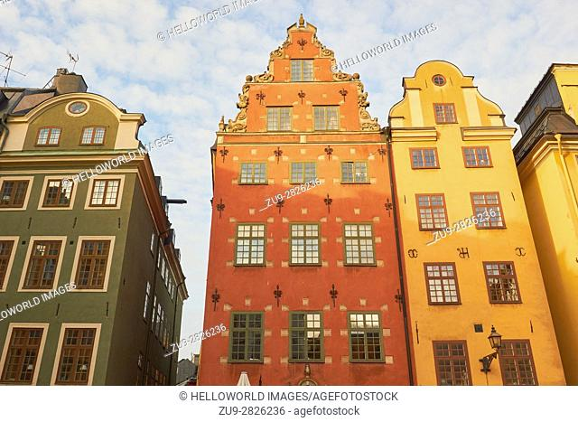 Houses in Stortorget the main square of Gamla Stan, Stockholm's old town, Sweden, Scandinavia