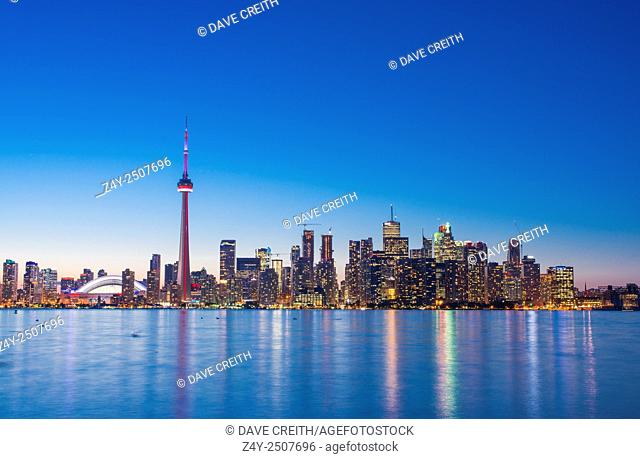 Toronto skyline in the evening with Roger's Centre and CN tower, Toronto, Ontario, Canada