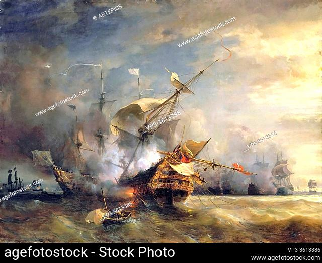 Gudin Jean Antoine Théodore - Naval Combat off Cape Lizard in Cornwall 21 October 1707 - French School - 19th Century