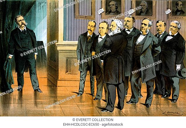 Seven men looking at Pesident Chester A. Arthur; portraits of presidential failures on the wall. Color lithograph, 1881