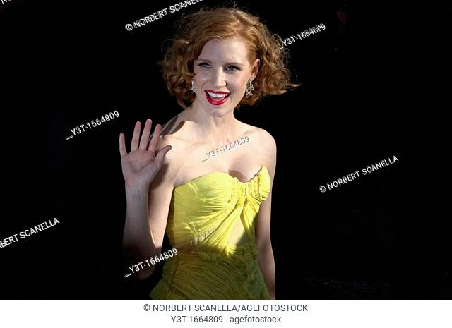 Europe, France, Alpes-Maritimes, Cannes film festival. The American actress, Jessica Chastain, before climbing the stairs