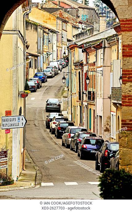 Rue de la Sauvetat viewed from Rue de l'Horloge, Auvillar, Tarn-et-Garonne Department, Midi-Pyrenees, France