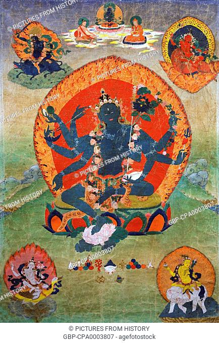 China / Tibet: 18th century Eastern Tibetan thangka, with the Green Tara (Samaya Tara Yogini) in the centre and the Blue, Red