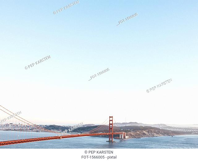 Golden Gate Bridge over San Francisco Bay against clear sky, California USA