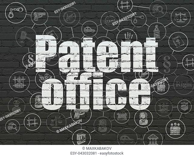 Law concept: Painted white text Patent Office on Black Brick wall background with Scheme Of Hand Drawn Law Icons