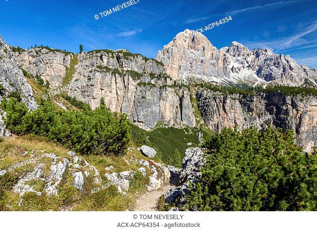 An alpine hiking trail in the Dolomite mountains in northern Italy