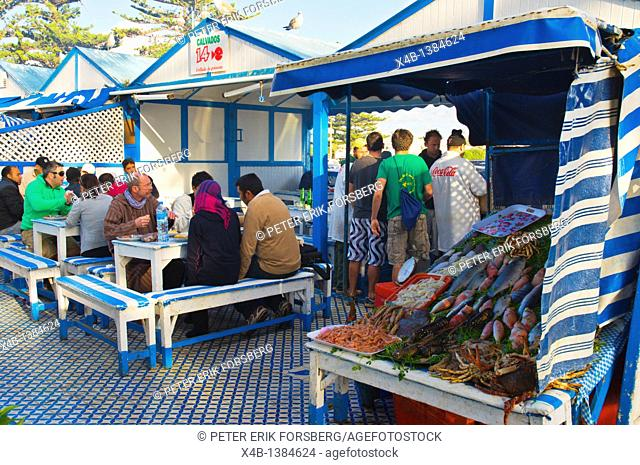 Seafood restaurant near Marina port Essaouira central Morocco northern Africa