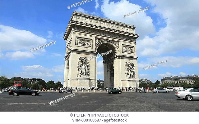 Traffic at the Arc de Triumphe in Paris