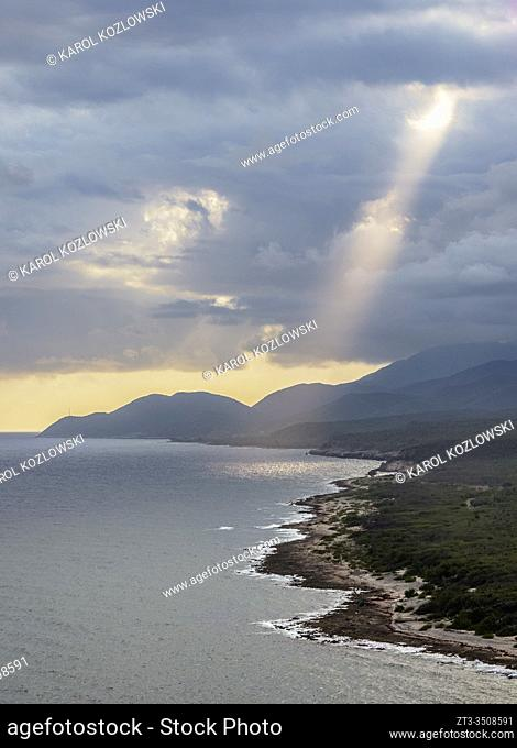 View over the coast of Santiago de Cuba towards Sierra Maestra Mountains, Santiago de Cuba Province, Cuba
