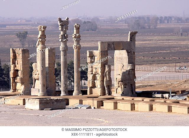 Top view of Xerxes Gate Gate of All Nations, Persepolis, Iran