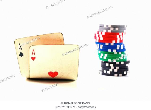 Two aces and chips stack