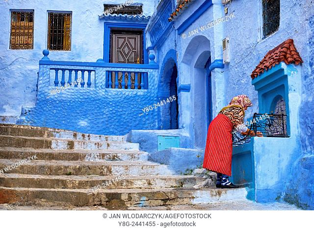 "Chefchaouen (Chaouen), also known as """"Blue City"""". Houses here are painted on blue color. Morocco"