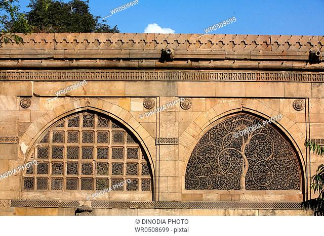 Jali work depicting palm trees with carved tendrils on windows of Sidi Sayed mosque in Ahmedabad , Gujarat , India