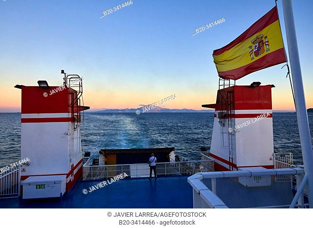 Ferry crossing the Strait of Gibraltar from Morocco to Spain, In the background Jbel Musa mountain , Tangier, Morocco, Africa