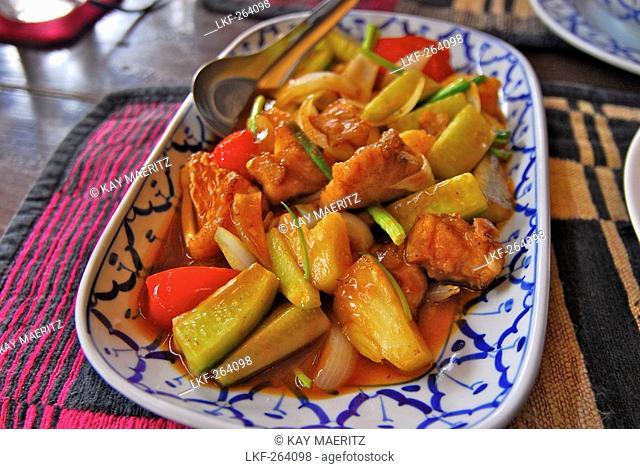Sweet and sour fish at Bai Fern Restaurant, Mae Sot, Thailand, Asia
