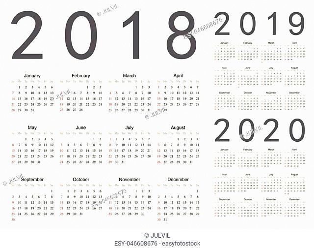 Set of european 2018, 2019, 2020 year vector calendars. Week starts from Sunday