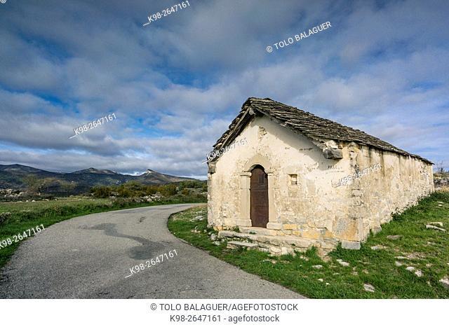 Capilleta de San Isidro, Paules de Sarsa, Sobrarbe, Provincia de Huesca, Comunidad Autónoma de Aragón, Pyrenees Mountains, Spain