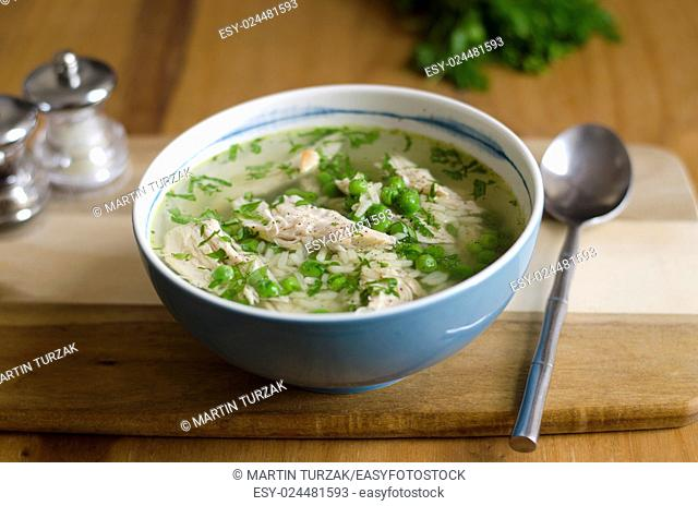 Chicken and pea broth with orzo pasta