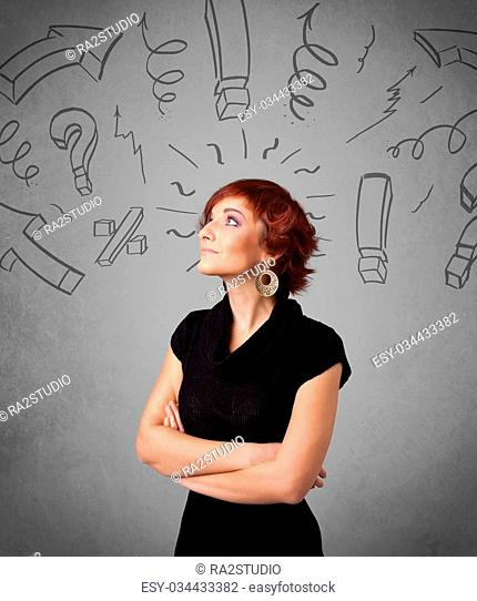 Cute young girl with question sign doodles on gradient background