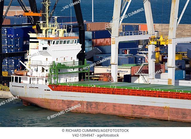 Ship docked in Barcelona Port, Catalonia, Spain, Europe