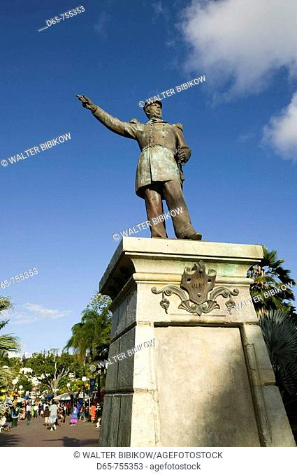 New Caledonia - Grande Terre Island - Noumea - Place des Cocotiers - statue of Admiral Olry, governor general of New Caledonia (1878-1880)