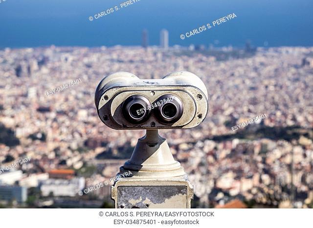 Spain Catalonia Barcelona view from Tibidabo (Serra de Collserola) on the Fabra Observatory (1904) and the Eixample