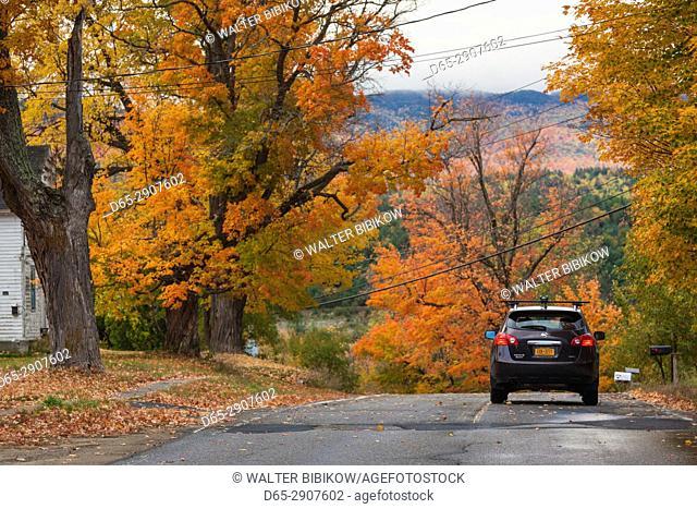 USA, New York, Adirondack Mountains, Jay, country road, autumn