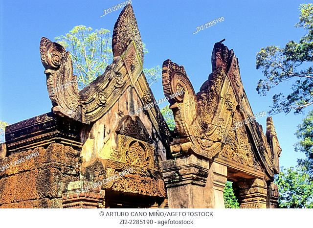 Hindu temple of Banteay Srei or Banteay Srey, Xth century. Angkor, Siem Reap province, Cambodia