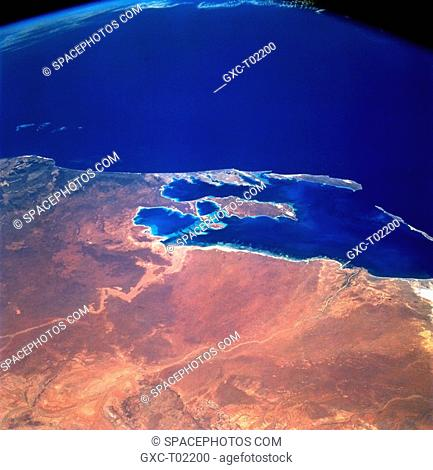 This is a wide, southwest-looking view toward Australia's west coast. The prominent bay is Shark Bay. Shark Bay is a frequently photographed site by astronauts...