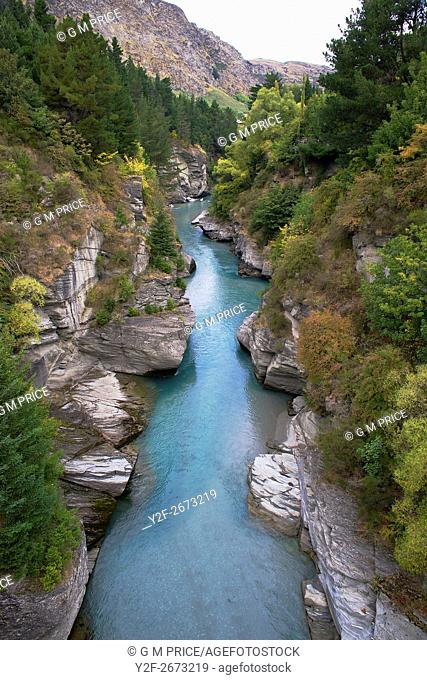 elevated view of Shotover River, near Queenstown, New Zealand
